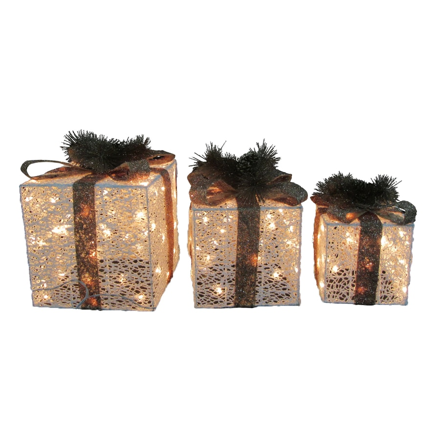 Shop Holiday Living Pre Lit Gift Box Sculpture Constant White Incandescent Lights At Lowescom
