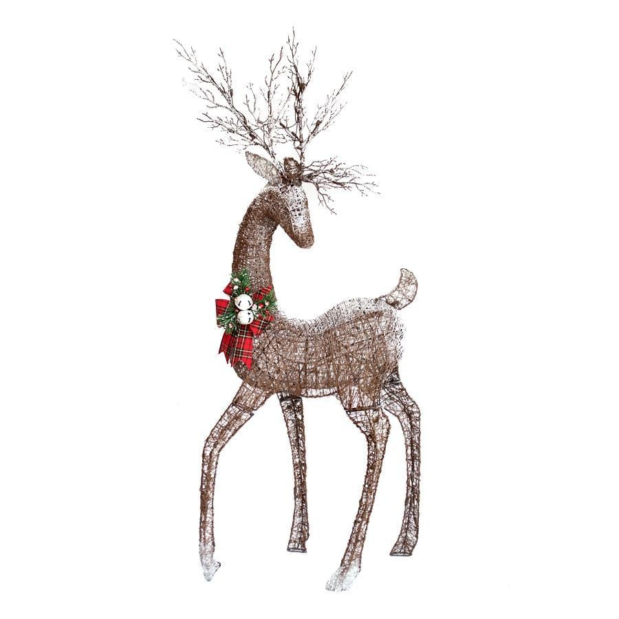 Holiday Living 4.83-ft Freestanding Reindeer with Constant White Incandescent Lights