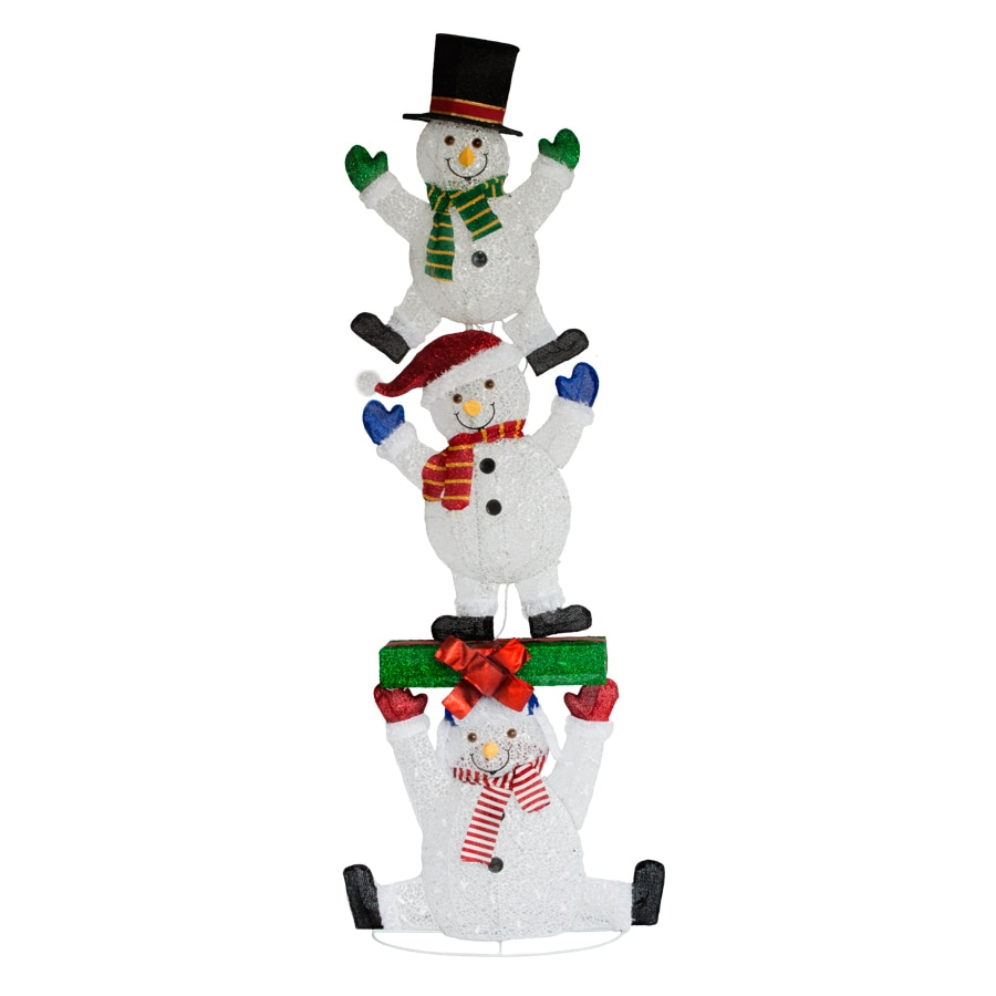 Holiday Living 2.53-ft Freestanding Snowman Sculpture with Constant White LED Lights