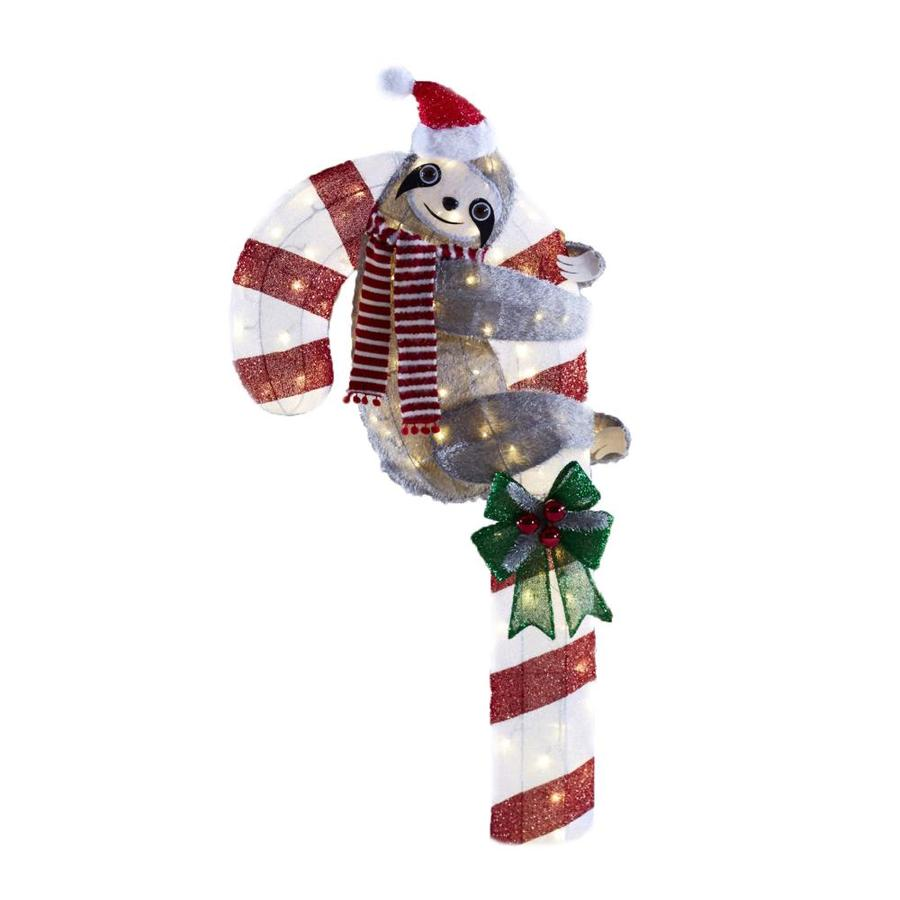 Holiday Living 52-in Candy Cane Sculpture with White LED Lights at ...