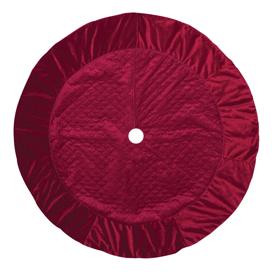 Holiday Living 56-in Red Polyester Quilted Christmas Tree Skirt