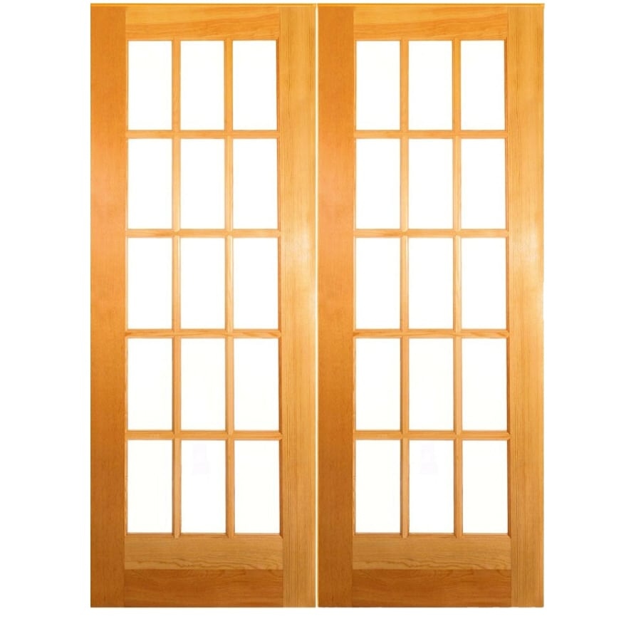 ReliaBilt Classics Unfinished Solid Core Clear Glass Wood Pine French Door  (Common: 60