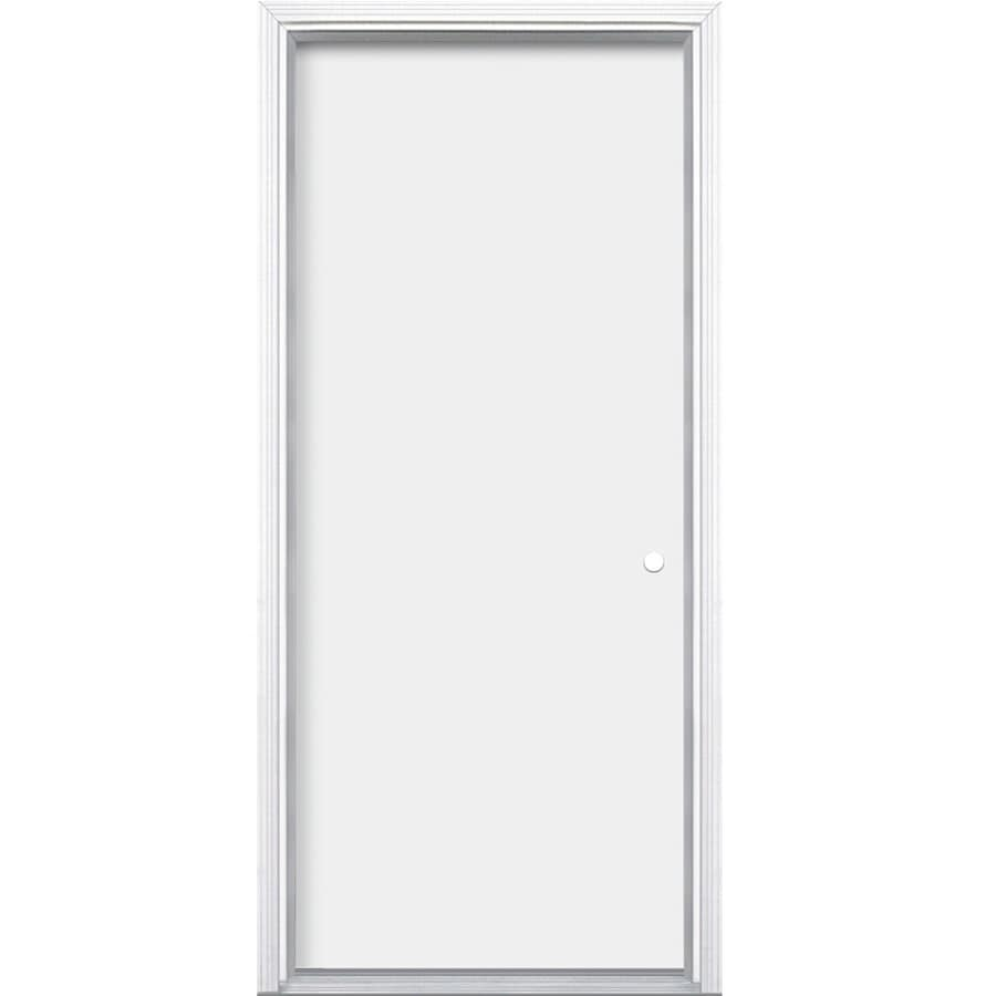 ProSteel Flush Insulating Core Left-Hand Inswing Steel Primed Prehung Entry Door (Common: 32-in x 80-in; Actual: 33.5-in x 81.5-in)
