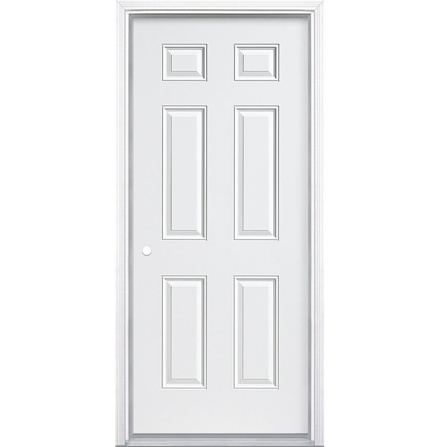 ProSteel 6-Panel Insulating Core Right-Hand Inswing Steel Primed Prehung Entry Door (Common: 36-in x 80-in; Actual: 37.5-in x 81.5-in)