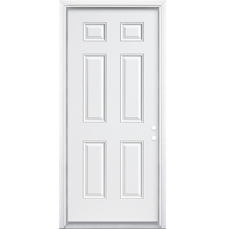ReliaBilt 6-Panel Insulating Core Left-Hand Inswing Steel Primed Prehung Entry Door (Common: 32-in x 80-in; Actual: 33.5-in x 81.5-in)