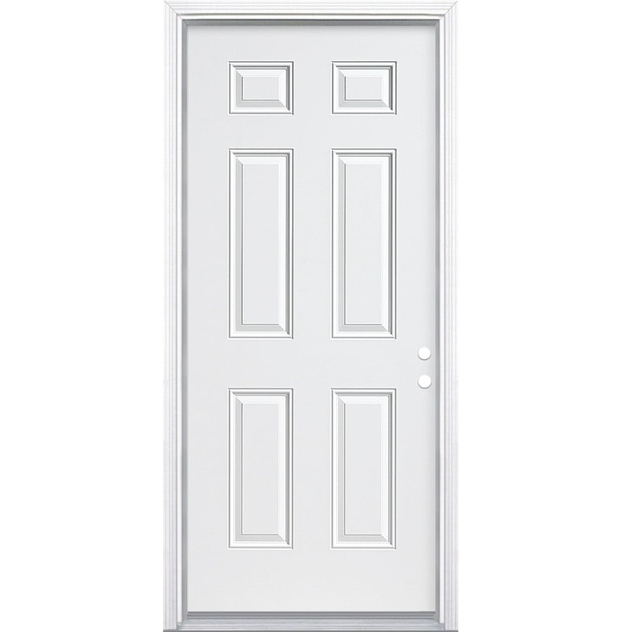 ReliaBilt 6-Panel Insulating Core Left-Hand Inswing Steel Primed Prehung Entry Door (Common: 36-in x 80-in; Actual: 37.5-in x 81.5-in)