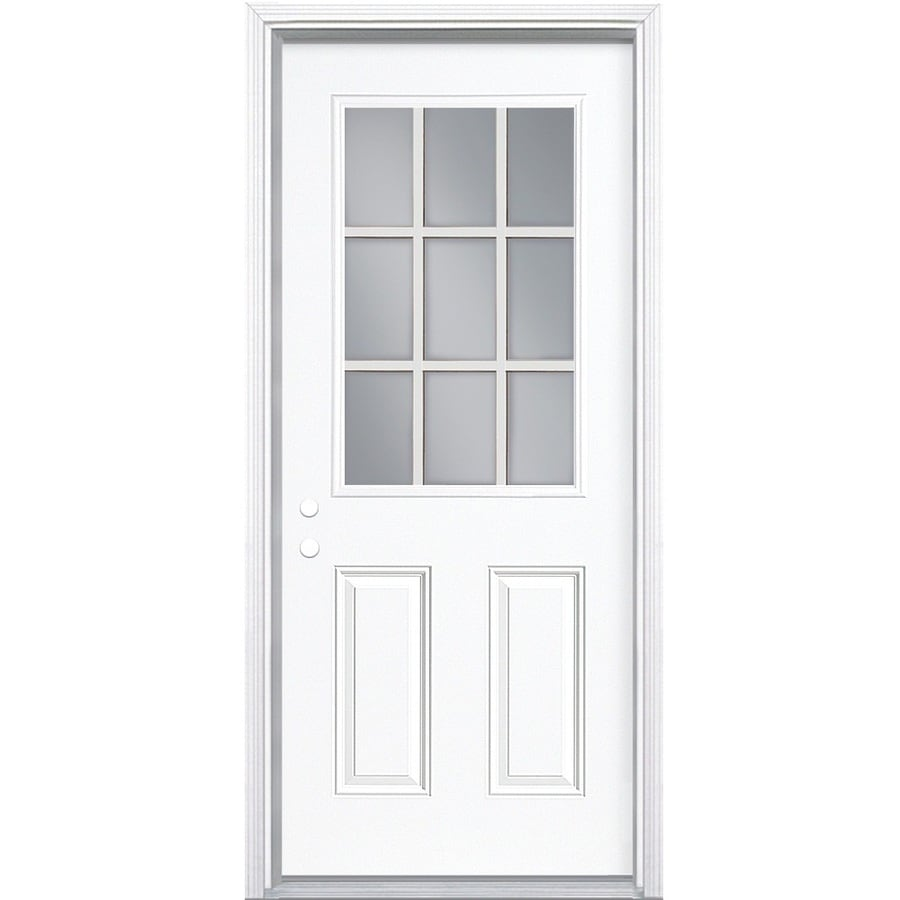 ReliaBilt 2-Panel Insulating Core 9-Lite Right-Hand Inswing Primed Steel Prehung Entry Door (Common: 32-in x 80-in; Actual: 33.5-in x 81.5-in)