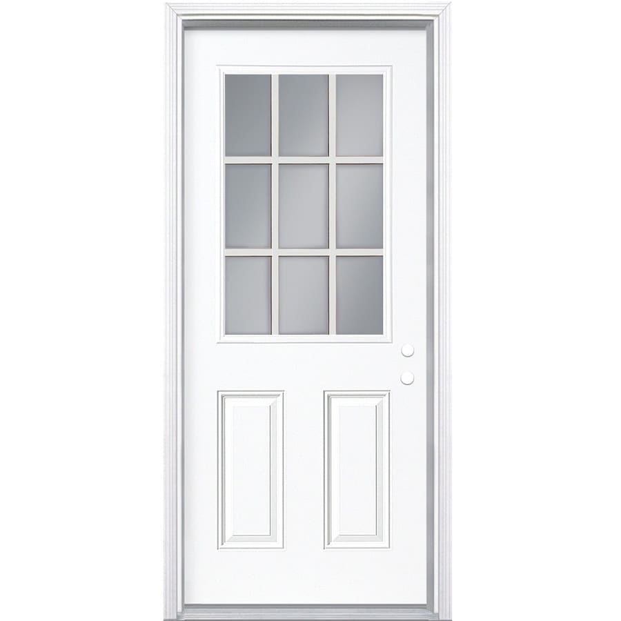 ReliaBilt 2-Panel Insulating Core 9-Lite Left-Hand Inswing Primed Steel Prehung Entry Door (Common: 32-in x 80-in; Actual: 33.5-in x 81.5-in)