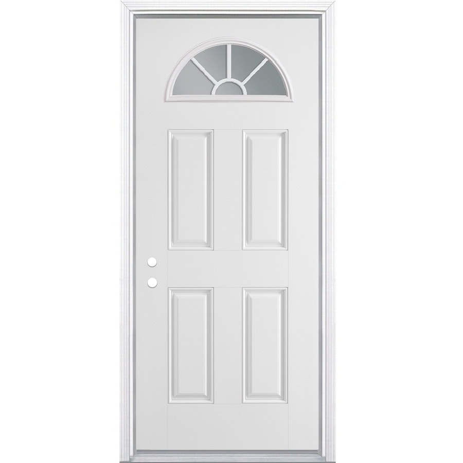 ReliaBilt 4-panel Insulating Core Fan Lite Right-Hand Inswing Steel Primed Prehung Entry Door (Common: 32-in x 80-in; Actual: 33.5000-in x 81.5000-in)