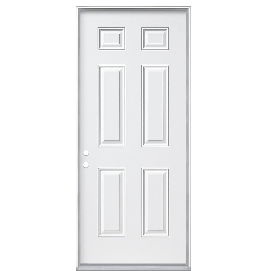 ReliaBilt 6-Panel Insulating Core Right-Hand Inswing Steel Primed Prehung Entry Door (Common: 32-in x 80-in; Actual: 33.5-in x 81.5-in)