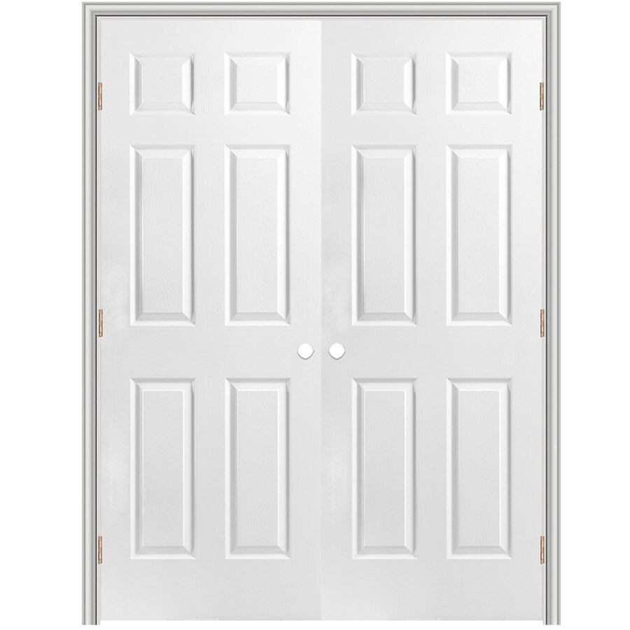 "ReliaBilt 72"" 6-Panel Hollw Core Composite Reversible Hand Interior Double Prehung Door 376 Casing"