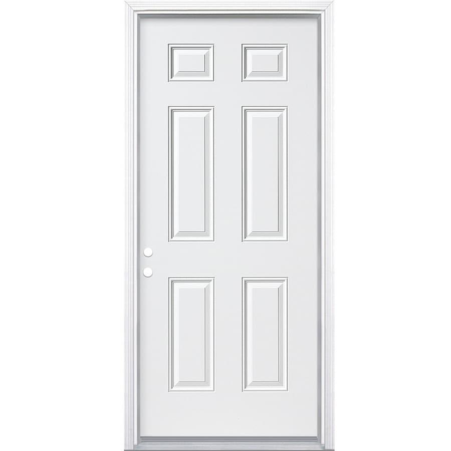 ReliaBilt 6-panel Insulating Core Right-Hand Inswing Steel Primed Prehung Entry Door (Common: 30-in x 80-in; Actual: 31.5000-in x 81.5000-in)