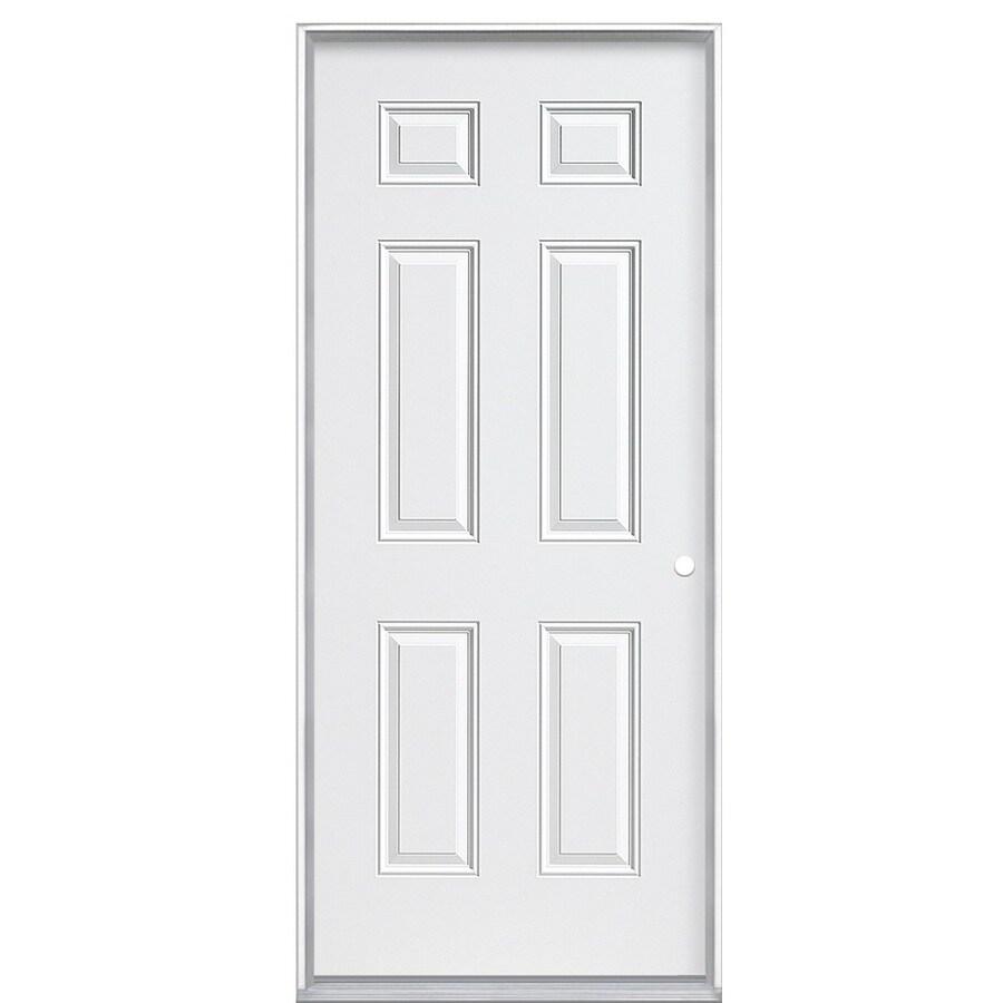 ReliaBilt 6-Panel Insulating Core Left-Hand Inswing Steel Primed Prehung Entry Door (Common: 32-in x 80-in; Actual: 32.5-in x 81.5-in)