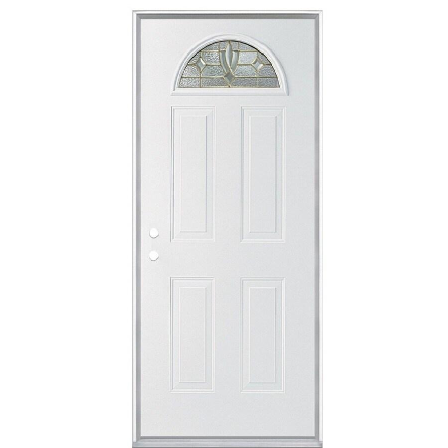 ReliaBilt Laurel 4-panel Insulating Core Fan Lite Right-Hand Inswing Steel Primed Prehung Entry Door (Common: 36-in x 80-in; Actual: 37.5-in x 81.5-in)