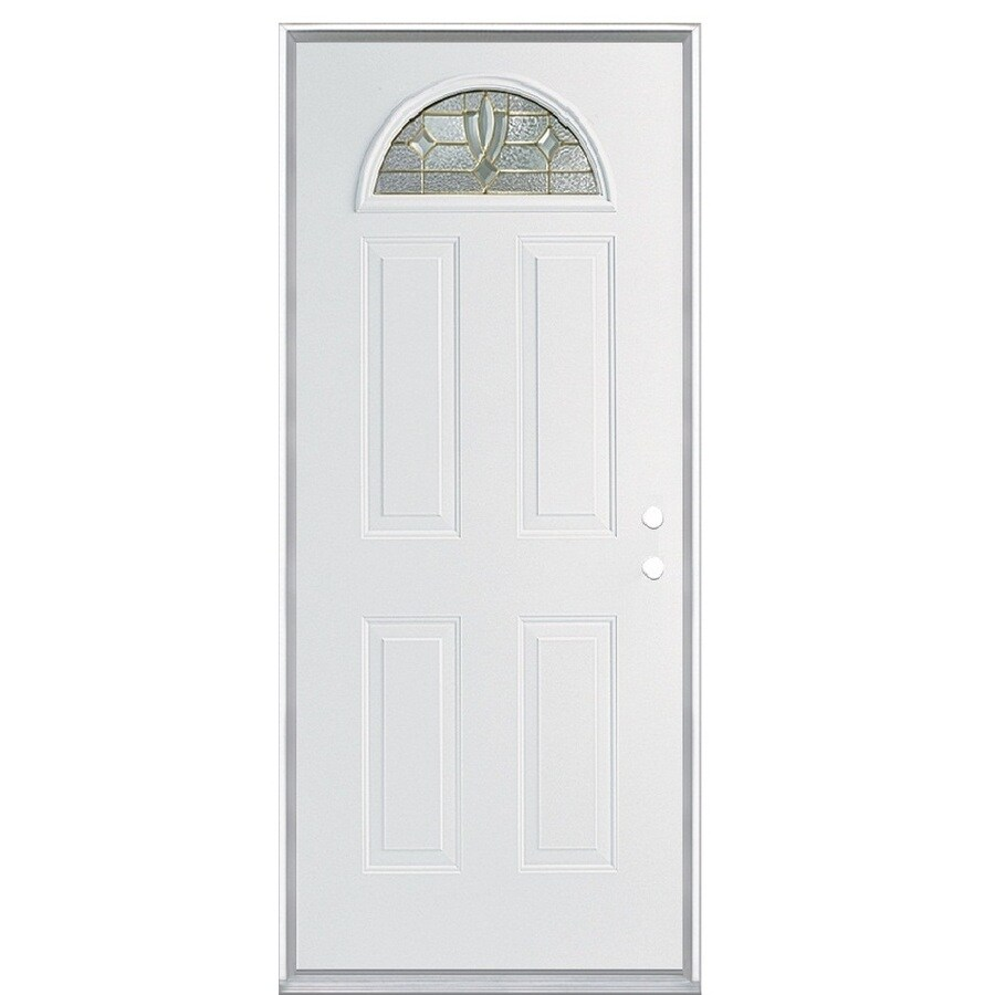 ReliaBilt Laurel 4-Panel Insulating Core Fan Lite Left-Hand Inswing Steel Primed Prehung Entry Door (Common: 36-in x 80-in; Actual: 37.5-in x 81.5-in)
