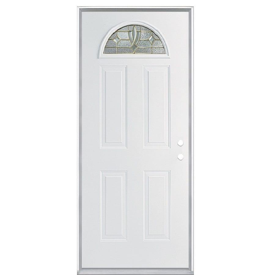 ReliaBilt Laurel 4-panel Insulating Core Fan Lite Left-Hand Inswing Steel Primed Prehung Entry Door (Common: 36-in x 80-in; Actual: 37.5000-in x 81.5000-in)