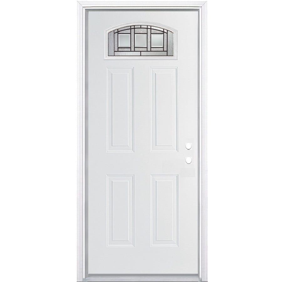 ReliaBilt Craftsman Glass 4-panel Insulating Core Morelight Left-Hand Inswing Steel Primed Prehung Entry Door (Common: 36-in x 80-in; Actual: 37.5-in x 81.5-in)