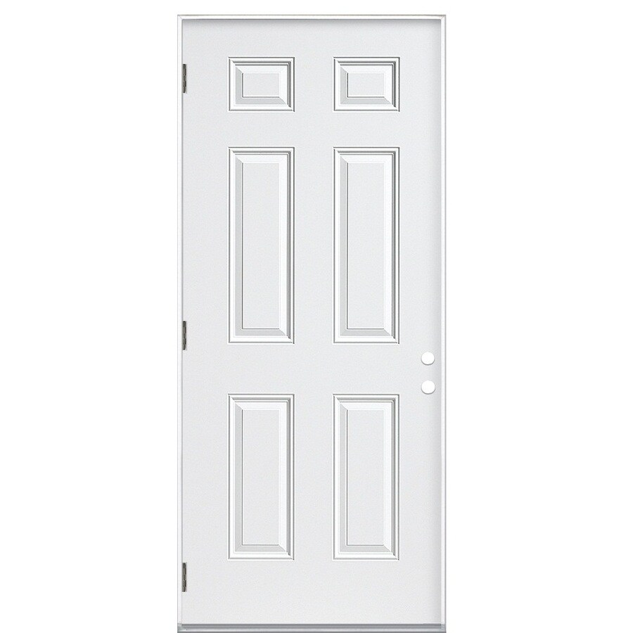 Shop Reliabilt 6 Panel Insulating Core Right Hand Outswing Steel Primed Prehung Entry Door