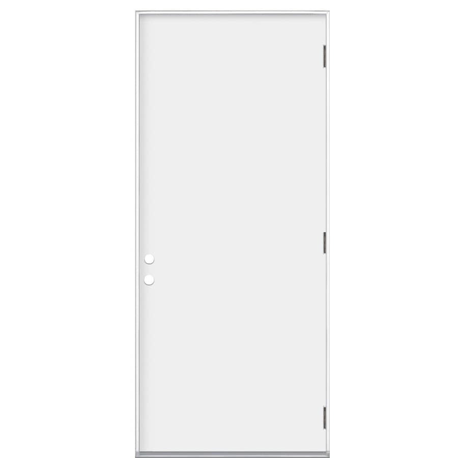 Shop Reliabilt Flush Insulating Core Left Hand Outswing Steel Primed Prehung Entry Door Common