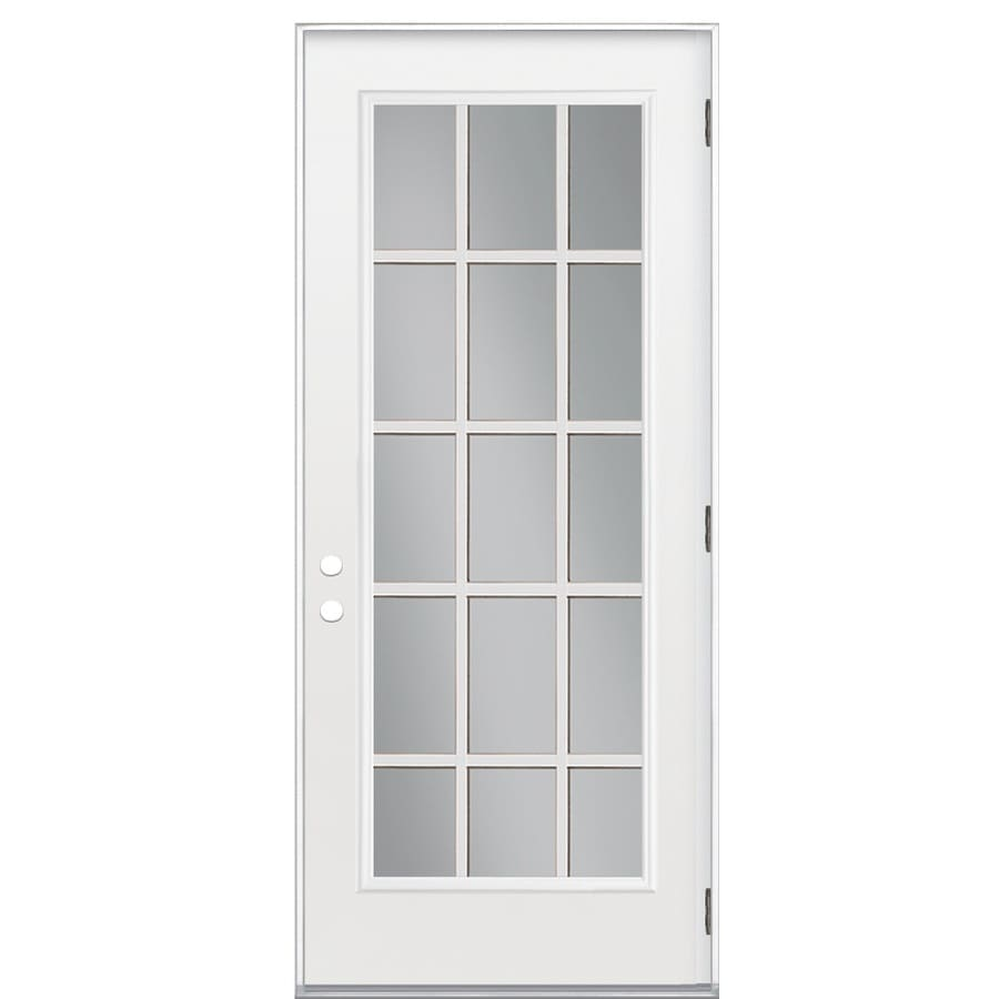 Shop reliabilt left hand outswing steel primed entry door common 36 in x 80 in actual 37 5 36 x 80 outswing exterior door