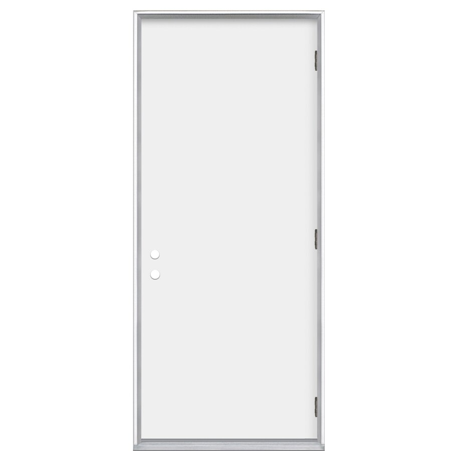 ProSteel Flush Insulating Core Left-Hand Outswing Steel Primed Prehung Entry Door (Common: 36-in x 80-in; Actual: 37.5-in x 80.375-in)
