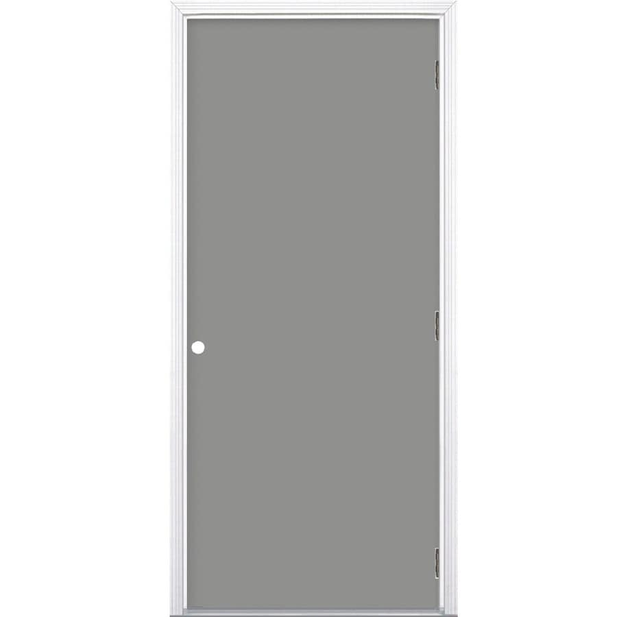 ProSteel 6-Panel Insulating Core Left-Hand Outswing Steel Primed Prehung Entry Door (Common: 32-in x 80-in; Actual: 33.5-in x 80.375-in)