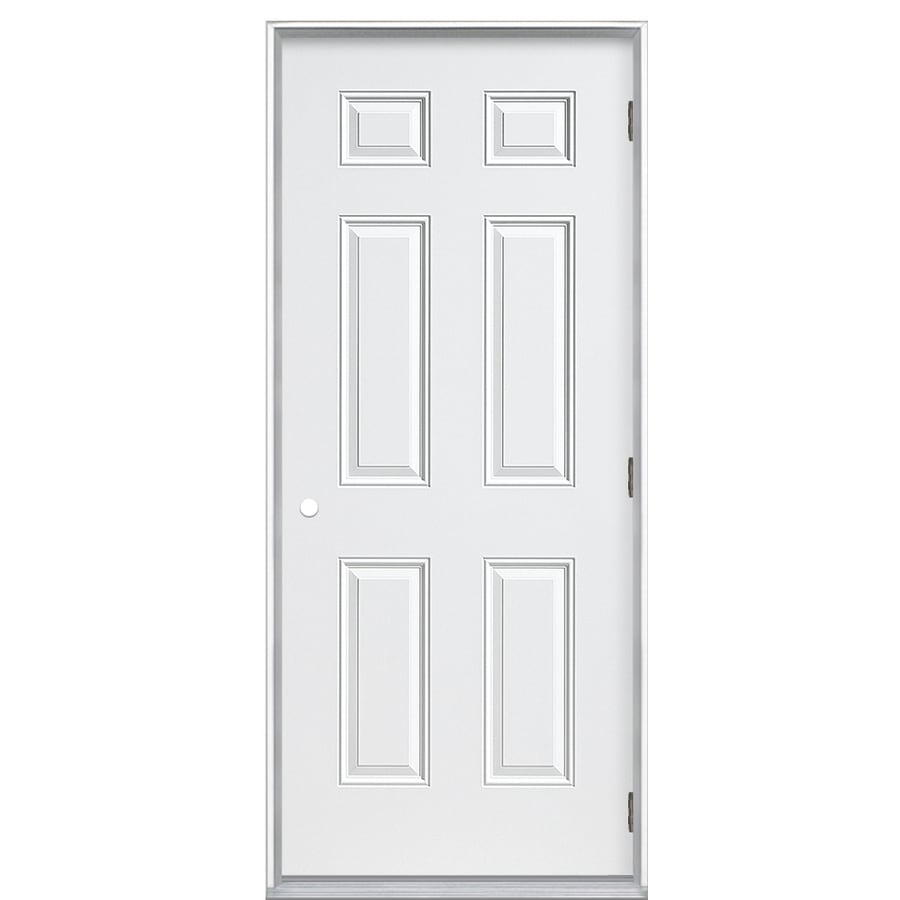 ProSteel 6-panel Insulating Core Left-Hand Outswing Steel Primed Prehung Entry Door (Common: 36-in x 80-in; Actual: 37.5000-in x 80.3750-in)