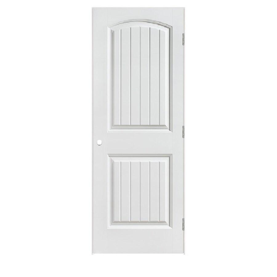 Shop Reliabilt Prehung Hollow Core 2 Panel Round Top Plank Interior Door Common 36 In X 80 In
