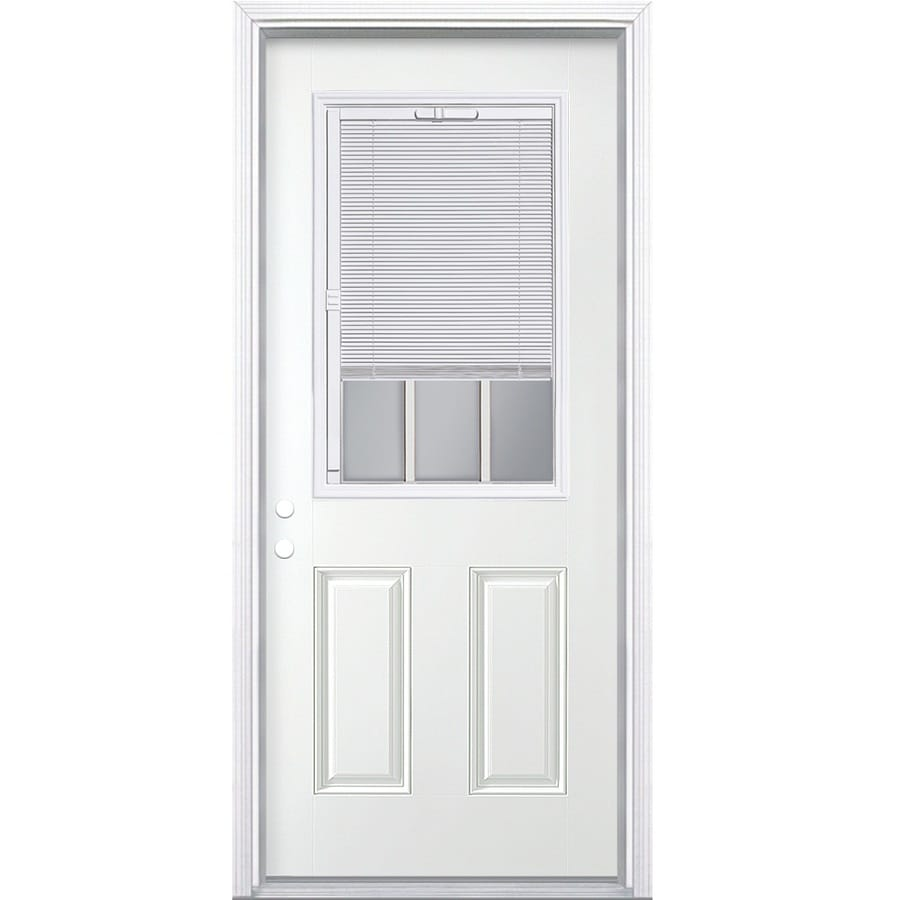 ReliaBilt 2-Panel Insulating Core Blinds and Grilles Between The Glass Half Lite Right-Hand Inswing Steel Primed Prehung Entry Door (Common: 32-in x 80-in; Actual: 33.5-in x 81.5-in)