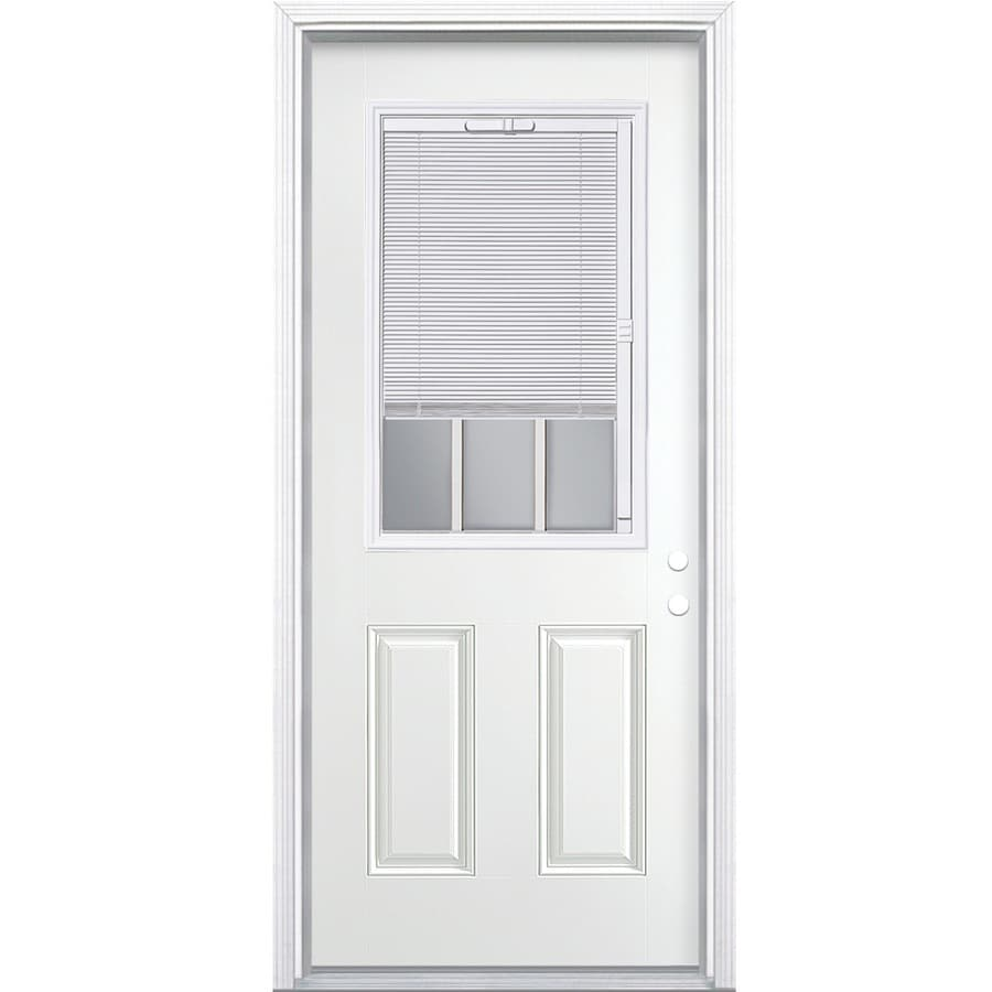 ReliaBilt 2-panel Insulating Core Blinds And Grilles Between The Glass Half Lite Left-Hand Inswing Steel Primed Prehung Entry Door (Common: 32-in x 80-in; Actual: 33.5000-in x 81.5000-in)