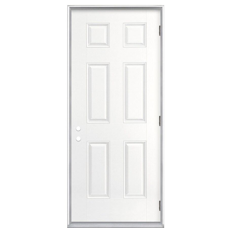 ReliaBilt 6-panel Insulating Core Left-Hand Outswing Fiberglass Primed Prehung Entry Door (Common: 32-in x 80-in; Actual: 33.5000-in x 80.3750-in)