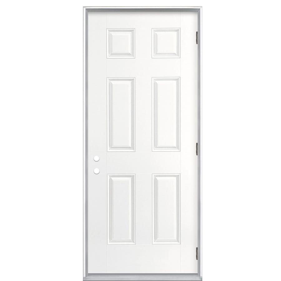 ReliaBilt 6-Panel Insulating Core Left-Hand Outswing Primed Fiberglass Primed Prehung Entry Door (Common: 36-in x 80-in; Actual: 37.5-in x 80.375-in)