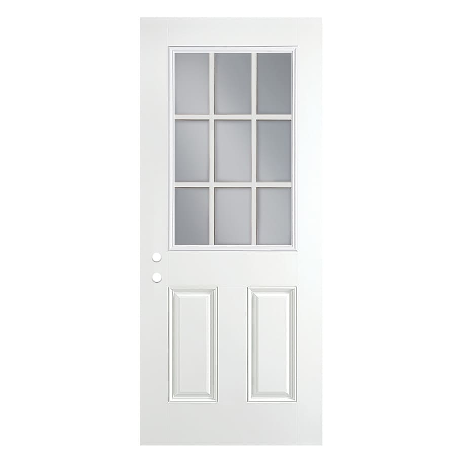ReliaBilt 2-Panel Insulating Core 9-Lite Left-Hand Outswing Primed Fiberglass Primed Prehung Entry Door (Common: 36-in x 80-in; Actual: 37.5-in x 80.375-in)