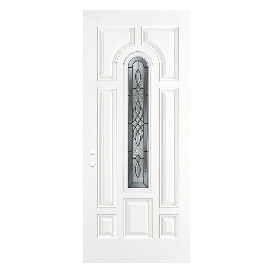 ReliaBilt Hampton 8-Panel Insulating Core Center Arch Lite Left-Hand Outswing Primed Fiberglass Primed Prehung Entry Door (Common: 36-in x 80-in; Actual: 37.5-in x 80.375-in)