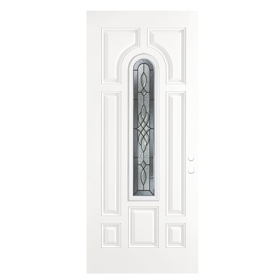 ReliaBilt Hampton 8-Panel Insulating Core Center Arch Lite Right-Hand Outswing Primed Fiberglass Primed Prehung Entry Door (Common: 36-in x 80-in; Actual: 37.5-in x 80.375-in)