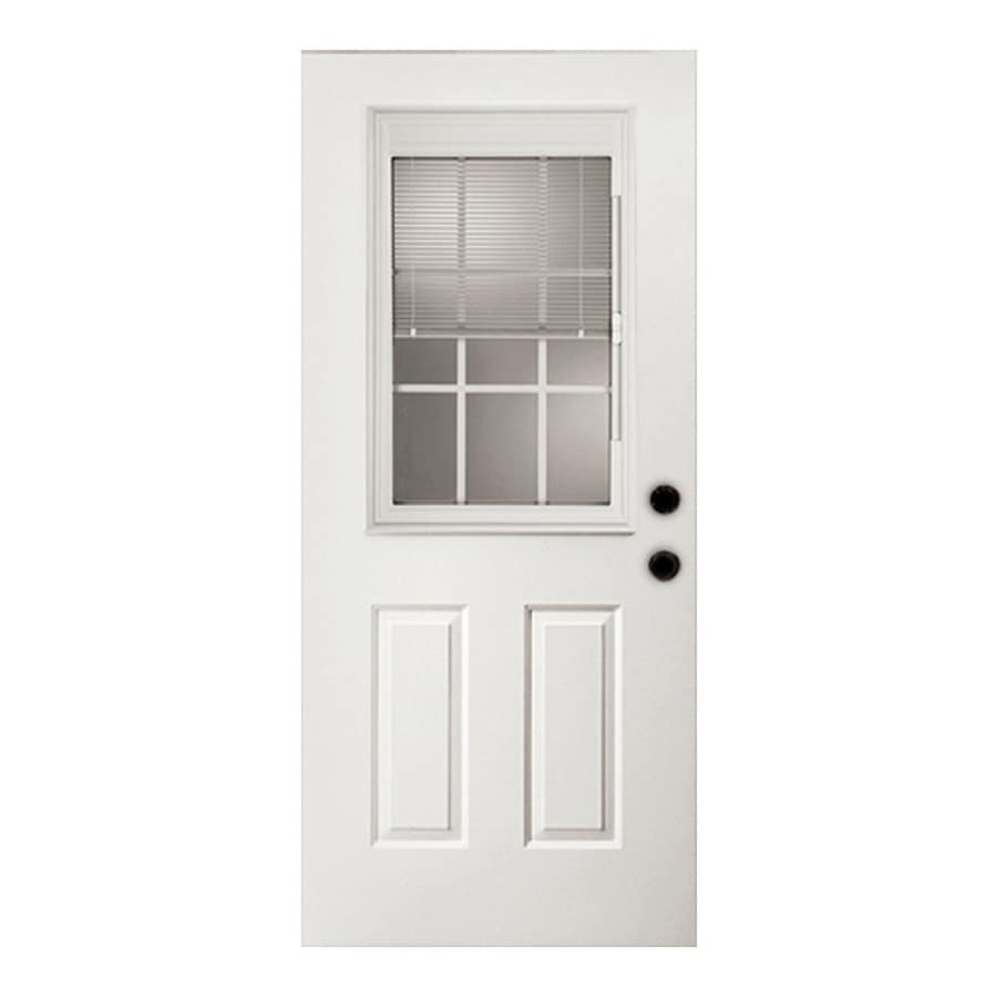 ReliaBilt 2-Panel Insulating Core Blinds and Grilles Between The Glass Half Lite Right-Hand Outswing Primed Fiberglass Primed Prehung Entry Door (Common: 36-in x 80-in; Actual: 37.5-in x 80.375-in)