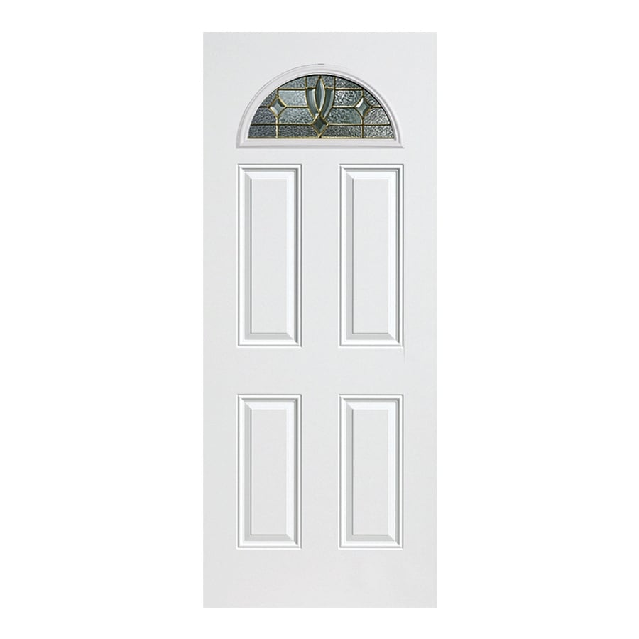 ReliaBilt Laurel 4-Panel Insulating Core Fan Lite Left-Hand Outswing Primed Fiberglass Primed Prehung Entry Door (Common: 36-in x 80-in; Actual: 37.5-in x 80.375-in)