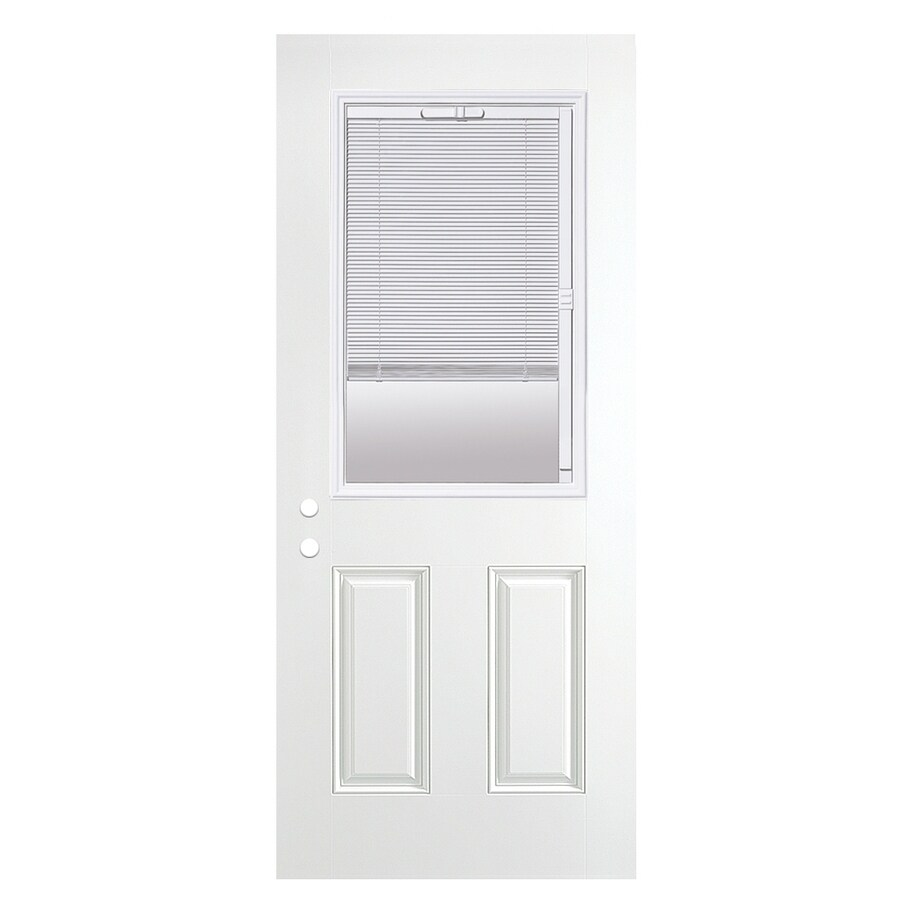 ReliaBilt 2-Panel Blinds Between the Glass Half Lite Left-Hand Outswing Fiberglass Primed Prehung Entry Door (Common: 36-in x 80-in; Actual: 37.5-in x 80.375-in)