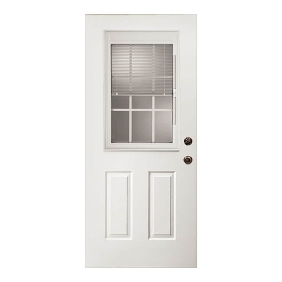 ReliaBilt 2-Panel Blinds Between the Glass Half Lite Right-Hand Outswing Fiberglass Primed Prehung Entry Door (Common: 32-in x 80-in; Actual: 33.5-in x 80.375-in)