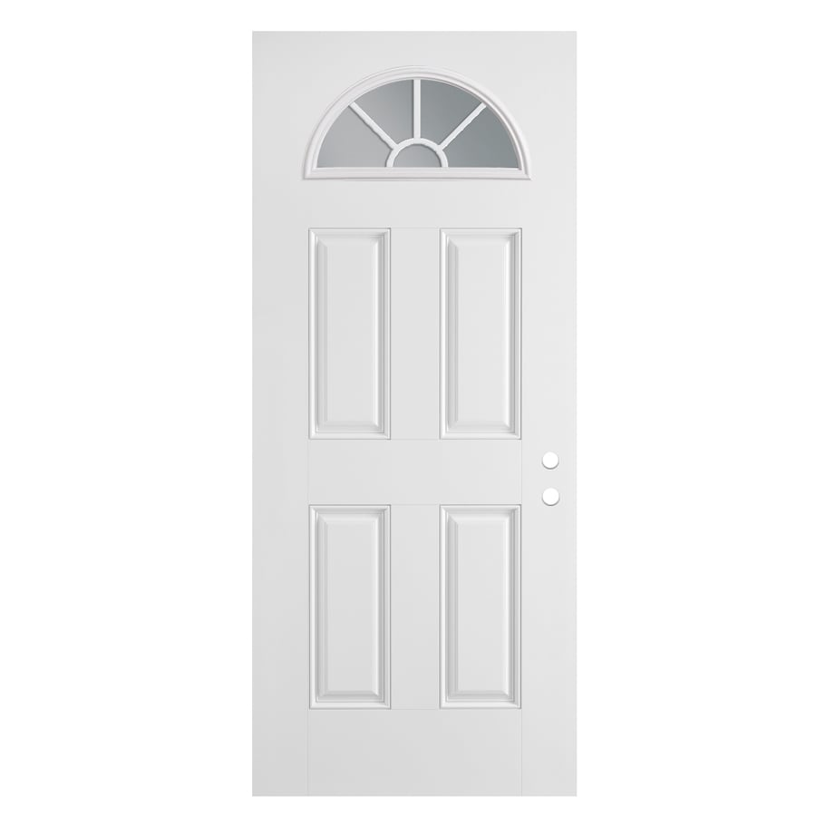 ReliaBilt 4-Panel Insulating Core Fan Lite Right-Hand Outswing Primed Fiberglass Primed Prehung Entry Door (Common: 36-in x 80-in; Actual: 37.5-in x 80.375-in)