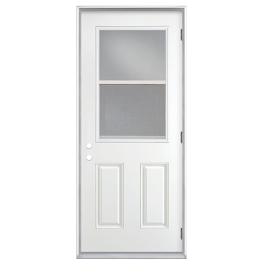 ReliaBilt 2-Panel Insulating Core Vented Glass with Screen Left-Hand Outswing Primed Fiberglass Primed Prehung Entry Door (Common: 32-in x 80-in; Actual: 33.5-in x 80.375-in)