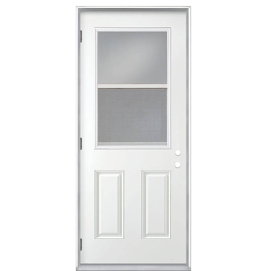 ReliaBilt 2-Panel Insulating Core Vented Glass with Screen Right-Hand Outswing Primed Fiberglass Primed Prehung Entry Door (Common: 32-in x 80-in; Actual: 33.5-in x 80.375-in)