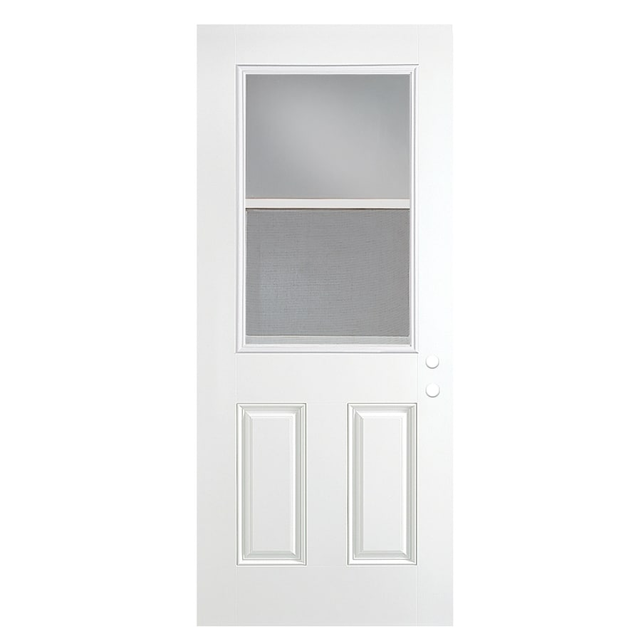 ReliaBilt 2-Panel Insulating Core Vented Glass with Screen Right-Hand Outswing Primed Fiberglass Primed Prehung Entry Door (Common: 36-in x 80-in; Actual: 37.5-in x 80.375-in)