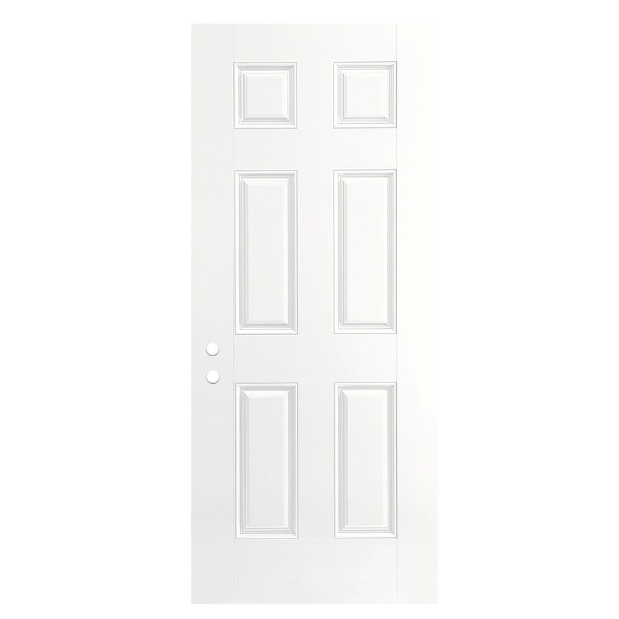 ReliaBilt 6-Panel Insulating Core Right-Hand Inswing Primed Fiberglass Primed Prehung Entry Door (Common: 32-in x 80-in; Actual: 33.5-in x 81.5-in)