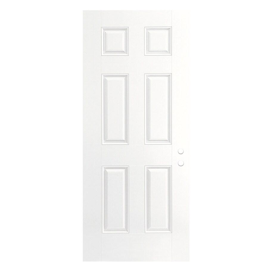 ReliaBilt 6-Panel Insulating Core Left-Hand Inswing Primed Fiberglass Primed Prehung Entry Door (Common: 32-in x 80-in; Actual: 33.5-in x 81.5-in)