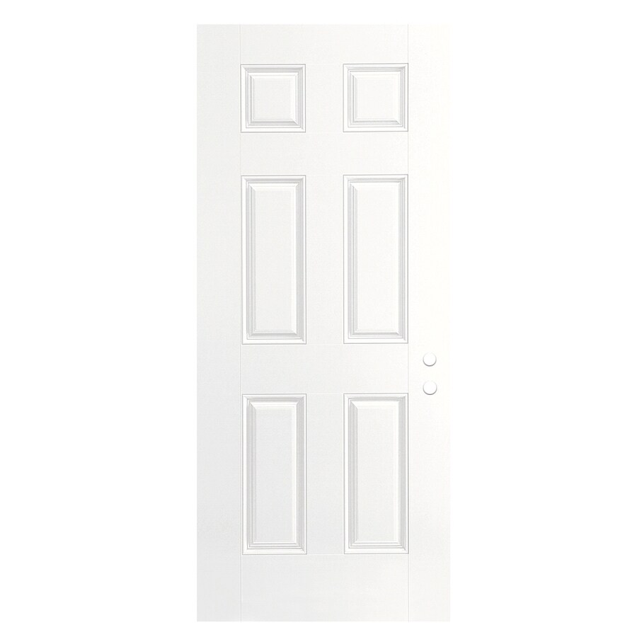 ReliaBilt 6-Panel Insulating Core Left-Hand Inswing Primed Fiberglass Primed Prehung Entry Door (Common: 36-in x 80-in; Actual: 37.5-in x 81.5-in)