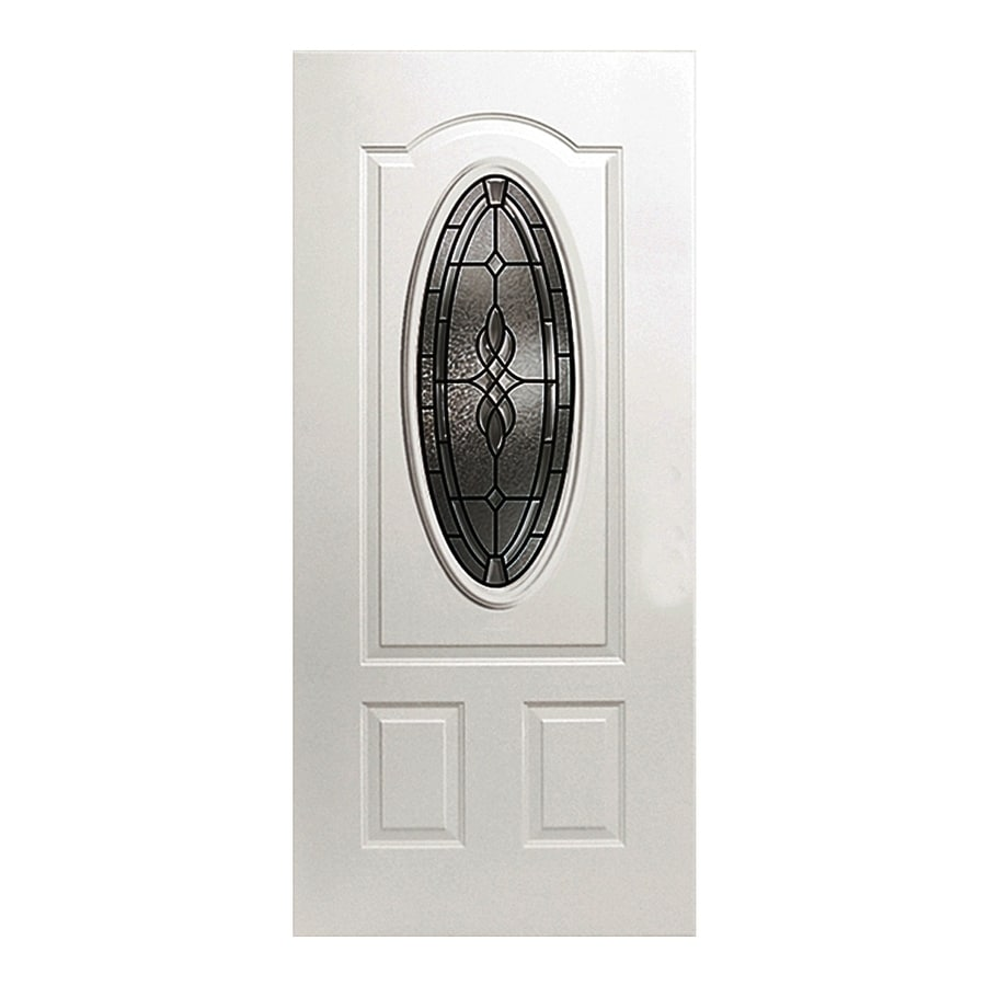 ReliaBilt Hampton 2-panel Insulating Core Oval Lite Right-Hand Inswing Fiberglass Primed Prehung Entry Door (Common: 36-in x 80-in; Actual: 37.5000-in x 81.5000-in)