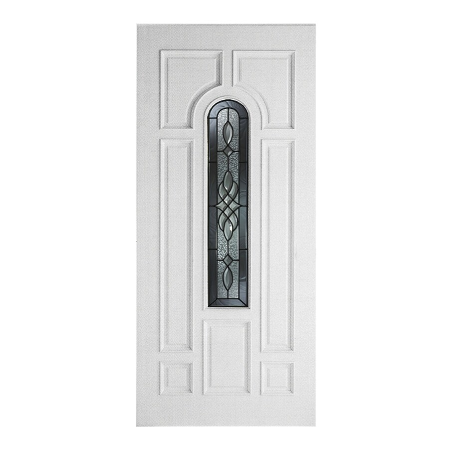 ReliaBilt Hampton 8-panel Insulating Core Center Arch Lite Right-Hand Inswing Fiberglass Primed Prehung Entry Door (Common: 36-in x 80-in; Actual: 37.5000-in x 81.5000-in)