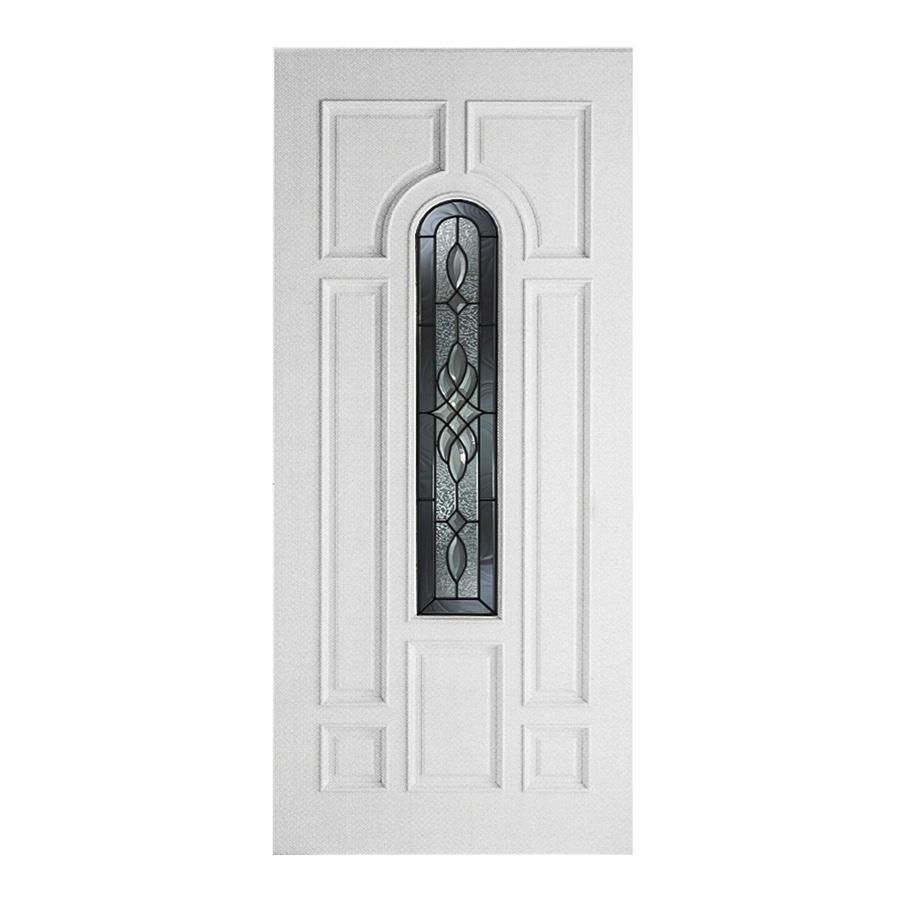 ReliaBilt Hampton 8-Panel Insulating Core Center Arch Lite Left-Hand Inswing Primed Fiberglass Primed Prehung Entry Door (Common: 36-in x 80-in; Actual: 37.5-in x 81.5-in)