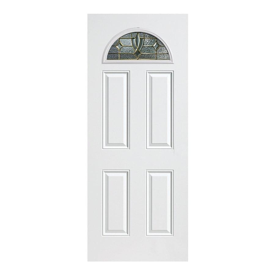 ReliaBilt Laurel 4-Panel Insulating Core Fan Lite Left-Hand Inswing Primed Fiberglass Primed Prehung Entry Door (Common: 36-in x 80-in; Actual: 37.5-in x 81.5-in)